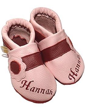JANAs Krabbelschuhe, Mädchen Kinder Hausschuhe, Motiv Blume Name Lederbänder , rosa-weinrot Handarbeit aus Deutschland