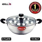 iBELL Stainless Steel Multi Purpose Kadai with 2 idli Plate(10 Idli) and Glass Lid
