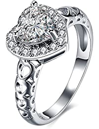 YouBella Jewellery Stylish Silver Plated Heart Shape High Quality Crystal Ring For Women And Girls