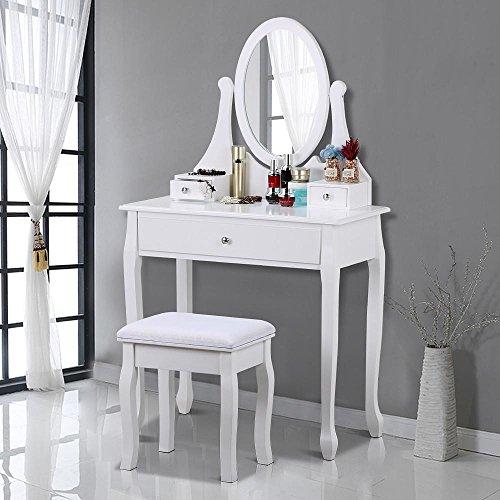 Yaheetech Weiß Luxuriös Schminktisch mit 360° schwenkbarem Spiegel u. hocker, 3 praktische Schubladen, Schminkkommode, Frisierkommode, Frisiertisch, Kippsicherung (Holz Spiegel Schmuck Schrank)