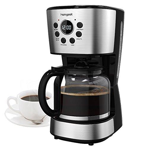 Homgeek Cafetera 12 Tazas, Café Maker con Apagado Automático, Placa Calentadora, Filtro...