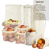Lyeiaa Obst- & Gemüsebeutel Wiederverwendbar 10er Set Einkaufstasche Brotbeutel Shopper