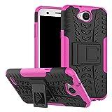 Sunrive Hülle Für LG X Power2, Tasche Schutzhülle Etui Case Cover Hybride Silikon Stoßfest Handyhülle Hüllen Zwei-Schichte Armor Design schlagfesten Ständer Slim Fall(rosa)