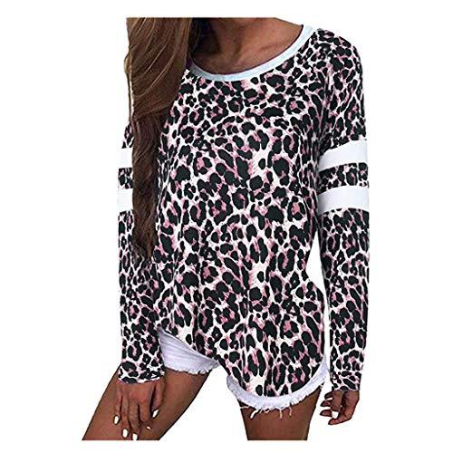 LILIHOT Womens Leopard Print Baggy Langarm Kurzarm Jumper Tops Casual T-Shirt Damen Langarm T-Shirt Rundhals Ausschnitt Lose Bluse Hemd Pullover Sweatshirt Oberteil Tops (Print Up Cover Baumwoll)