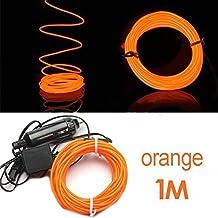SODIAL (R) 1M flessibile di EL Wire Neon del partito della luce dell'automobile LED del tubo della fune + 12V Inverter -