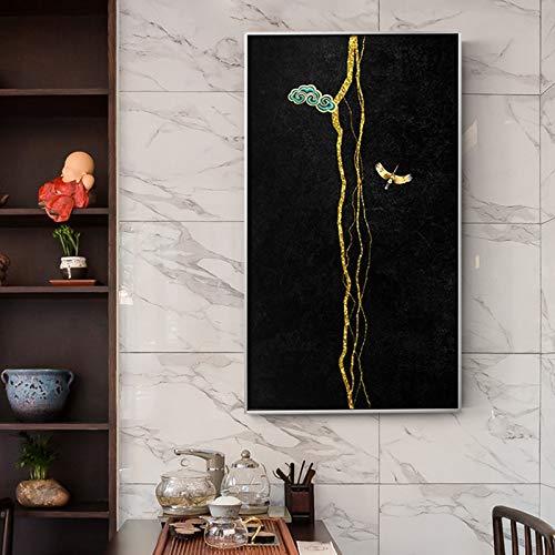 XCSMWJA Chinesischer Baum In Der Dunkelheit Leinwand Malerei Moderne Poster Und Druck Wandkunst Für Wohnzimmer Studie Dekoration Große Größe 50 * 100Cm