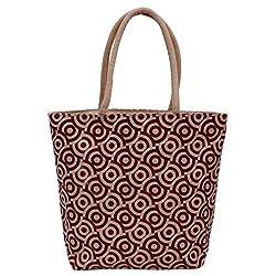 Utsav kraft Maroon Brown Designer Jute Bag, Fancy Jute Bag, Women's Jute Shopping Bag, Grocery bag, Gift bag, Trendy jute bag, print designer jute bag, Lunch bag, Handbag for Ladies Girls