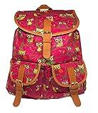 Rucksack in pink mit Eulenmotiv | für Kinder und Erwachsene | mit Zwei Taschen vorne | Magnetverschlüsse | Metallteile Messingfarbend |