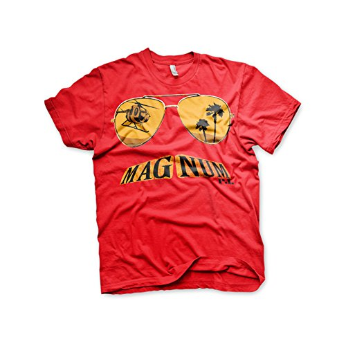 Officially Licensed Merchandise Magnum PI Mustache And Shades T-Shirt (Red), X-Large