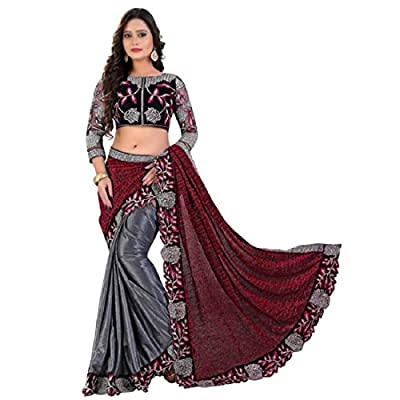 Siddeshwary Fab Women's Lycra Embroidered Fancy party wear saree (Red & Grey_Red_Lycra )