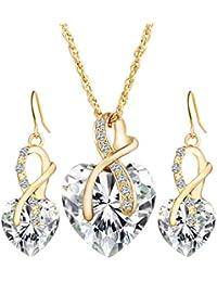 16ffd363503a Ogquaton Sistemas de la joyería del corazón del amor del cristal para las  mujeres Cubic Zirconia