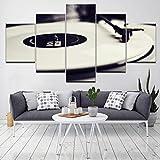 haochenli188 Vintage Restaurant décoration de la Maison HD Imprimer 5 Ensembles de Gramophone Instrument de Musique Toile Affiche Mur modulaire Image Art Peinture-Cadre
