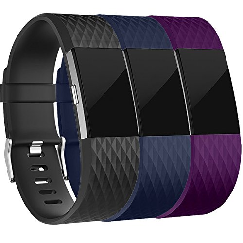 Fitbit Charge 2 Armband, HUMENN Charge 2 Bänder 3D Stil Weiches Silikon Sports Ersetzerband Fitness Verstellbares Uhrenarmband für Fitbit Charge2 Small 3 Farbe #3