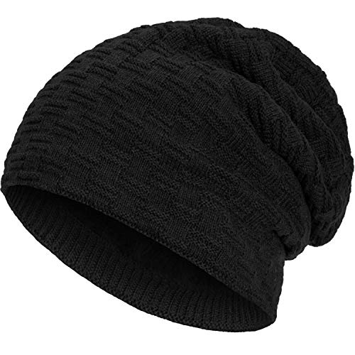 Compagno warm gefütterte Beanie Wintermütze angesagtes Strickmuster Fleece-Futter Mütze Einheitsgröße, Farbe:Schwarz
