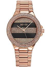 So & Co New York Soho Reloj con pantalla analógica, cuarzo japonés, con esfera gris, correa de rosa–5242.4
