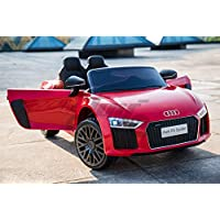 toyzz KIDS OFFIAIAL AUDI LICENSED R8 12V BATTERY KIDS RIDE ON JEEP 2.4G REMOTE CONTROL CAR DOOR OPEN RED (Red)