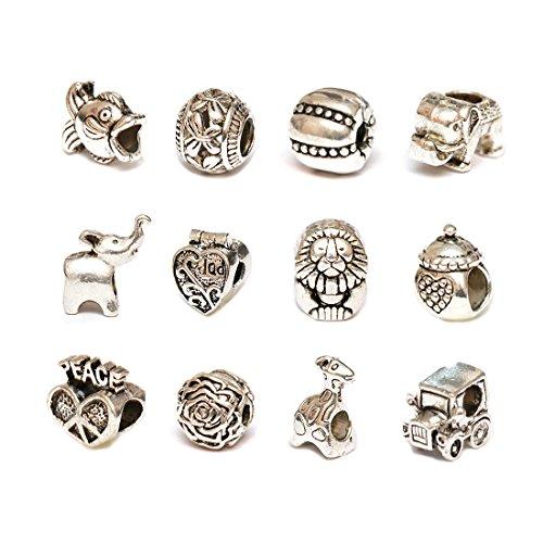 Pack von 12Pcs Antik versilbert Legierung Metall DIY Perlen Charms Set Mix Lot kompatibel Armband und Halskette