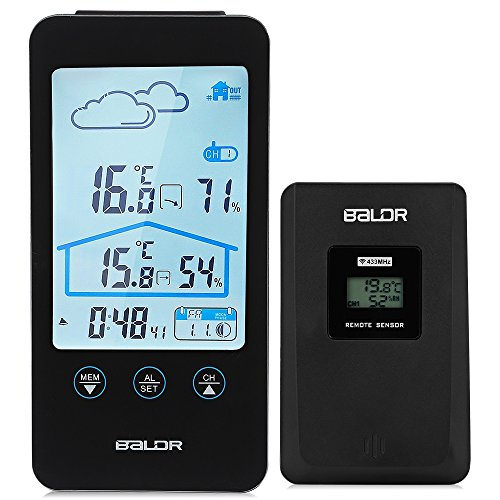 XU-XIAZHI,Drahtlose Thermometer-Hygrometer-Touch Screen Wetterstation-Uhr mit Prognose-Ikonen(Color:SCHWARZ)