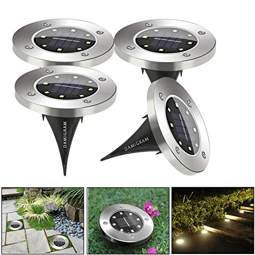 DAMIGRAM 4Pcs Energía Solar Powered Luz Solar Led Geediar Lámpara Solar para...
