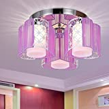 Tatosun Stoffleuchte E27 × 3-Fassungen Zylindrisch Würfel Deckenlampe mit Mehrfarbiger Lampenschirm Transluzente Lila Gaze Ø44cm Nachttischlampe Nachtlicht Moderner Mini stil kinderzimmer-lampe