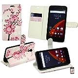 Emartbuy® Wileyfox Swift 4G Dual Sim Brieftaschen Brieftasche Etui Hülle Case Cover aus PU Leder Rosa Blossom mit Kreditkartenfächern