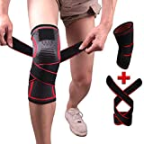 Non Slip Knee Pads, ACL Knee Brace,Knee Compression Sleeves with Adjustable Strap for Meniscus Tear, Pain Relief, Running, Arthritis, Basketball, Volleyball for Men Women (XL) (XL) Red