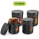 #3: Home Puff Premium Airtight Glass Canisters In Metal Overlay (350 Ml X 4) - Silver