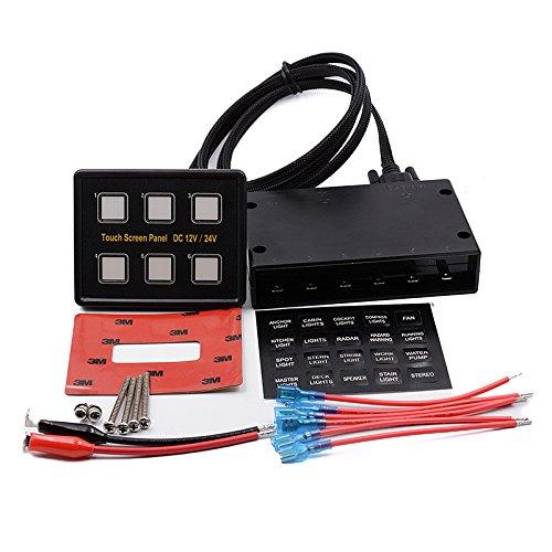 12V 24V 6Gang LED SWITCH PANEL Slim Touch Control-Panel BOX für Auto Marine Boot -