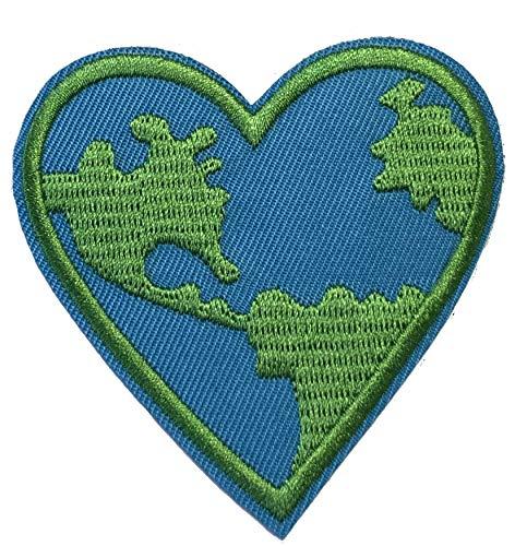 Earth Heart Aufnäher zum Aufbügeln oder Aufnähen, 7,6 cm, Souvenir/Urlaub/Peace Planet Serie/Emblem