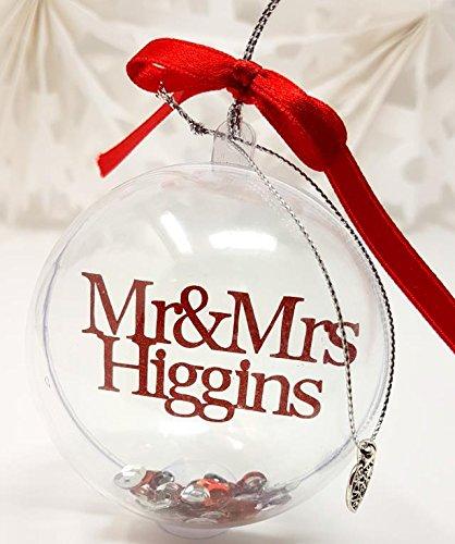 Mr and mrs personalizzata pallina di natale decorazioni dell' albero di natale, red - thin ribbon, heart