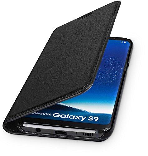 WIIUKA Echt Ledertasche -Travel- für Samsung Galaxy S9 mit Kartenfach, Extra Dünn, Tasche Schwarz Premium Design Leder Hülle