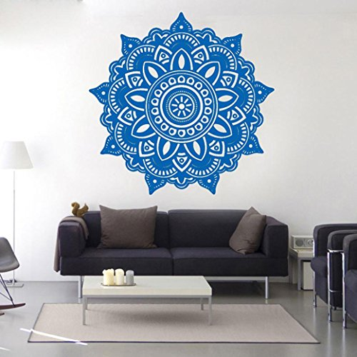 "Mandala Flower Indian Boho Style Wall Stickers - Indexp Removable Vinyl Art Home Room Decors Decals(22.4"" x 22.4"") (Blue)"