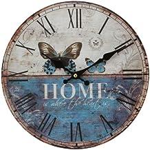 Widdop W9775 - Orologio da parete Hometime, struttura in MDF con stampa farfalle e scritta Home, diametro 30 cm