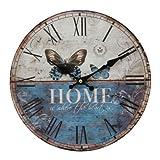Widdop W9775 Wanduhr Hometime, Gehäuse aus MDF bedruckt mit Schmetterlingmotiv und Schriftzug Home, Durchmeser 30 cm