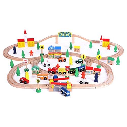 Eco Toys Holzeisenbahn Schienenbahn Bahnset Schienen Gebäude Holzspielzeug Kinder Spielzeugeisenbahnen Eisenbahnzubehör