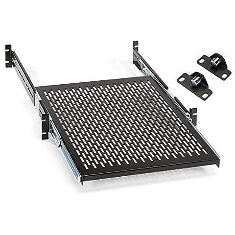 Black Box Rackmount Sliding, Vented, Locking 4-Point Shelf, 19 Rails by Black Box