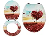 """ADJ LUSH Novelty 18"""" Toilet Seats 3D Resin & MDF 16 Designs with Adjustable Easy Fit Chrome Hinges Bathroom (Heart Tree, MDF Wood)"""
