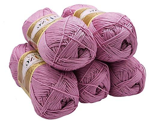 ALIZE 5 x 100 Gramm Wolle Diva Batik einfarbig, 500 Gramm merzerisierte Strickwolle Microfiber-Acryl (Flieder hell 291) -