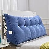TKYZN Dreieckskissen / -Kissen Polyester-Double-Bedside-Softcase Big Bed-Kissen-Bett-Rückenlehne Einfache Moderne waschbar (Farbe : Blau, größe : 90cm(2 Buckle))