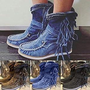 Floweworld Damen Stiefeletten Wintermode Vintage Round Toe Slip on Schnalle Rom Quaste Fransen Kurze Stiefel Wohnungen Freizeitschuhe