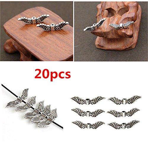 Doradus 20pcs Silver Angel Fee Flügel Charme Distanzscheiben Korn Craft Hardware