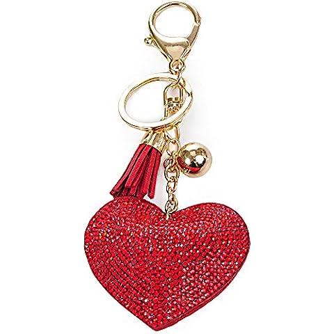 portachiavi con cuore rosso amore di cristallo