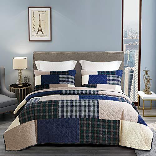 Unimall 4606447 Tagesdecke Baumwolle Kariert-Versteppung Patchwork Bettüberwurf Shabby chic 230 x 250 cm, blau