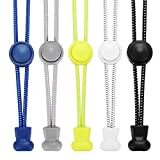 Accevo Elastische Schnürsenkel, 5 Paar Sport Schnellschnürsystem mit innovativem Schnellverschluss für Kinder, Running, Workout, Wandern(Schwarz+Weiß+Grau+Blau+Gelb) -