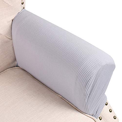 Stoff Sofa, Sofa Loveseat Sessel (FlyingBean Stretch Armlehnenschoner Armlehnenschoner Armkappen für Stoff und Leder Couch/Sessel/Loveseat/Sofa/Relax, 2er Set mit verstellbaren Bändern grau)