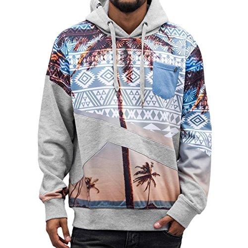 nd Hoodie Herren Pullover Kapuze Logo Aufdruck Muster Palme Männer Sweatshirt Grau Farbig DefShop S M L XL XXL (Vans-jungen-sale)