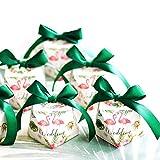 JZK 50 forme de diamant boîtes blanches et rubans verts boîte de bonbons en papier pour mariage anniversaire