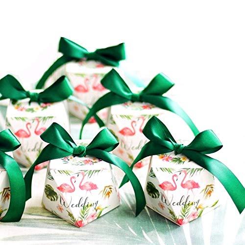 JZK 50 Diamant Form Süßigkeiten Schachtel mit grünen Bändern, Gastgeschenk Schokolade Box für Hochzeit Feier Hochzeitstag Junggesellenabschied Hochzeit Party, weiß (Box Aus Weißer Schokolade)