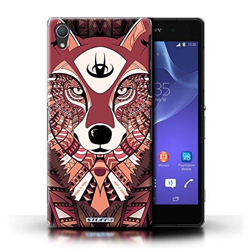 Coque en plastique pour Sony Xperia Z2 Collection Motif Animaux Aztec - Tigre-Bleu Loup-Rouge