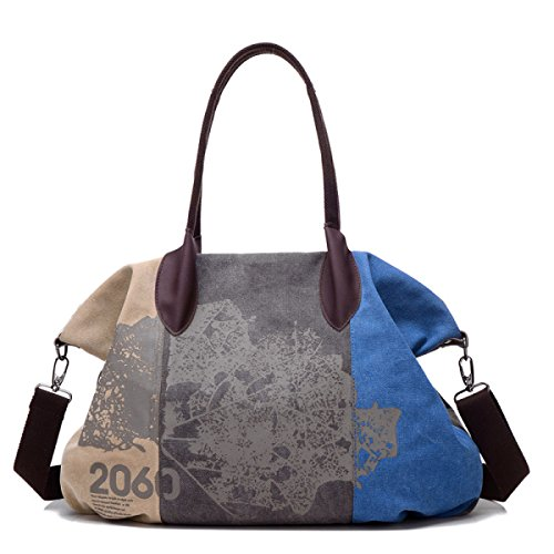 FZHLY Nuova Hit Colore Tela Cotone Di Modo Di Lady Wash Shoulder Bag Messenger,RedWine Blue